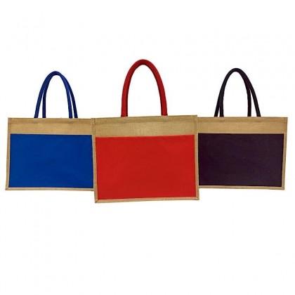 Jute Bag With Front Colour Canvas Pocket