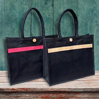 Large Jute Canvas Totel Bag