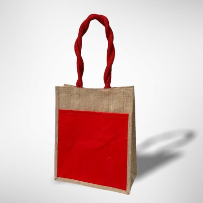 A4 Jute Bag With Colour Front Canvas Pocket